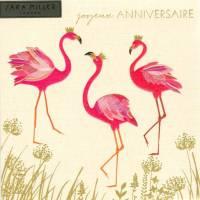 Carte anglaise double Sara Miller Bon Anniversaire  Flamingos