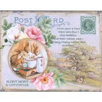 Carte artisanale Vintage de Pâques Flopsy Mopsy