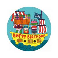 Carte ronde 14 cm  Laetitia Haas Happy Birthday Les Pirates