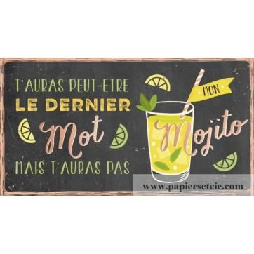 """Pancarte Panneau de Porte Humoristique """"Le Mojito"""""""