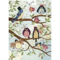 Carte double Neuf oiseaux sur la branche