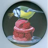 Magnet rond Gwenaëlle Trolez décor de Valéry Vécu Quitard Mésange au Macaron