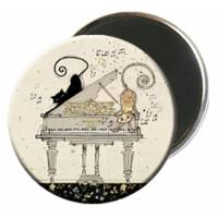 Magnet rond 2 Chats au piano