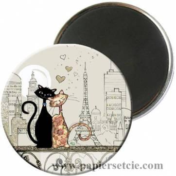 Magnet rond  Chats amoureux à Paris